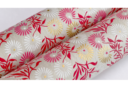 Papier indien Fluid blanc rose et or