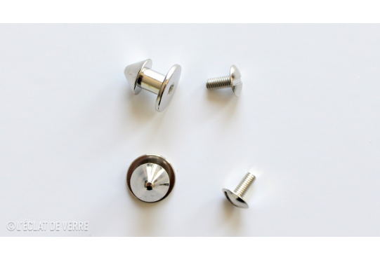 2 BOUTONS CHAPEAU NICKEL