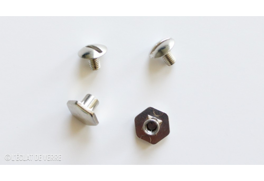 2 BOUTONS HEXAGONALES NICKEL